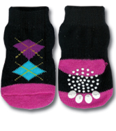 Black & Pink Argyle Doggy Socks