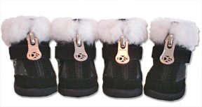 Black Hiker Boot with Faux Fur Trim