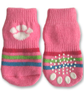 Pink with White Paw Doggy Socks
