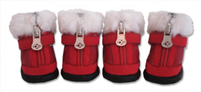 Red Hiker Boot with Faux Fur Trim