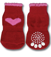 Red with Pink Heart Doggy Socks