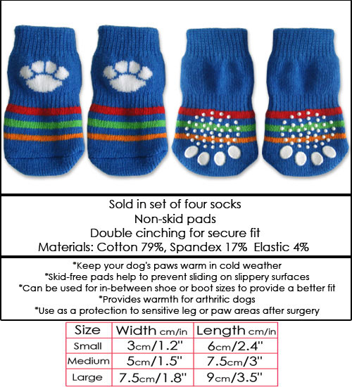 Blue with White Paw Doggy Socks