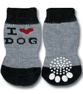 Grey & Black 'I Love Dog' Doggy Socks