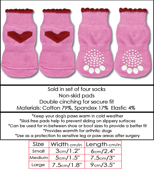 Pink with Red Heart Doggy Socks