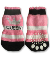 #QueenSocks Black, White & Pink Queen Doggy Socks
