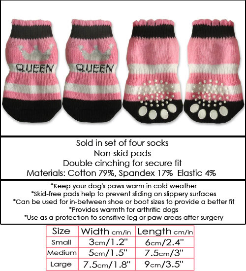 Black, White & Pink Queen Doggy Socks