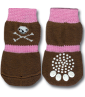 Pink & Brown Skull Doggy Socks